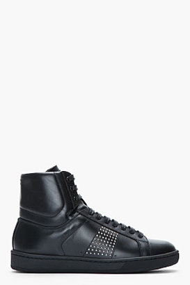 Saint Laurent Black Studded Leather Classic High-Top Sneakers