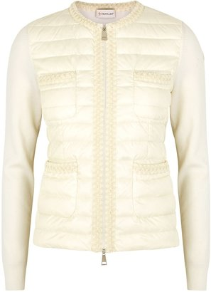 Moncler White Wool And Quilted Shell Jacket