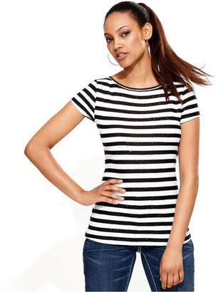 INC International Concepts Top, Cap-Sleeve Sequin-Stripe Tee