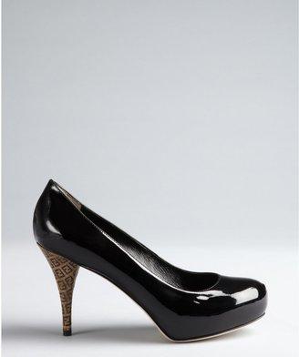 Fendi Black Patent Leather Logo Heel Pumps