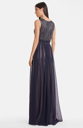JS Collections Beaded Bodice Chiffon Gown