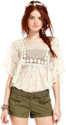 American Rag Juniors Top, Poncho-Sleeve Crochet-Knit Lace