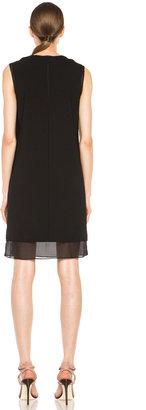 Vince Split Neck Silk Dress in Black