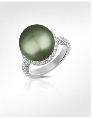 Forzieri Diamond and Black Pearl 18K White Gold Ring