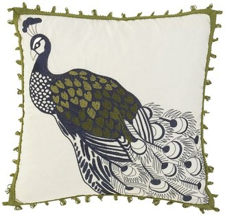 """Waverly [h1 Casablanca Embroidered Peacock Accent Pillow, 16""""[/h1]"""