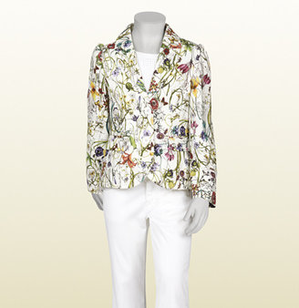 Gucci White Cotton Gabardine Single-Breasted Jacket With Flora Infinity Print