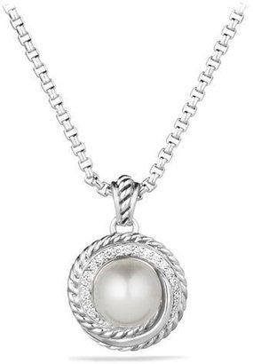 David Yurman Pearl Crossover Pendant with Diamonds on Chain $550 thestylecure.com