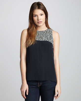 French Connection Moondust Beaded Tank