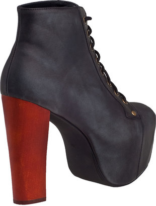 Jeffrey Campbell Lita Ankle Boot Distressed Black Leather