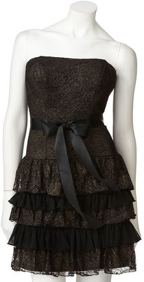 My Michelle lace lurex strapless dress - juniors