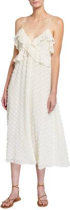 Zimmermann Textured Ruffle Slip Midi Dress