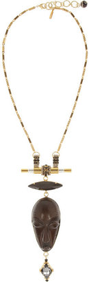 Swarovski VICKISARGE Gold-plated, crystal and wood necklace