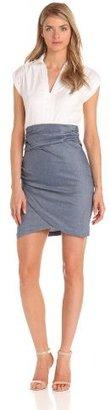 Ivy & Blu Women's V-Neck Techno 2fer Dress
