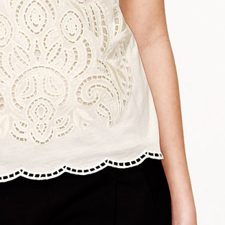 J.Crew Embroidered eyelet tank