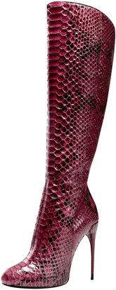 Gucci Tall-Shaft Stiletto Boot, Wine