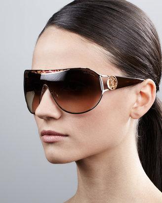 Roberto Cavalli Metal-Framed Shield Sunglasses, Havana