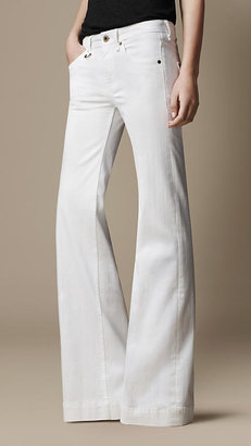 Burberry White Wash Flare Fit Jeans