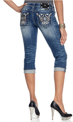 Miss Me Jeans, Cropped Medium-Wash Studded