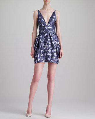 Vera Wang Plunging Floral Jacquard Dress, Lavender