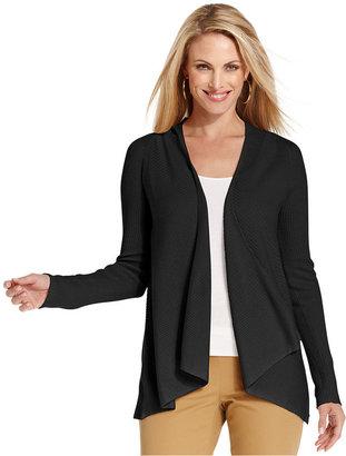 Charter Club Sweater, Long-Sleeve Ribbed Draped Cardigan
