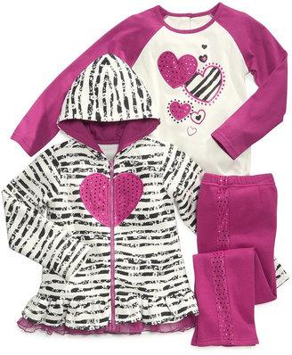 Nannette Kids Set, Little Girls 3-Piece Printed Hoodie, Shirt and Pants
