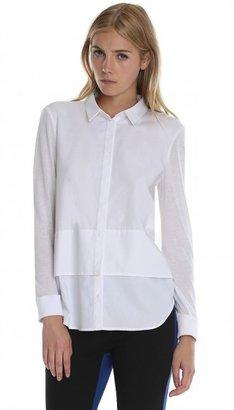 Tibi Poplin Shirt with Knit Combo