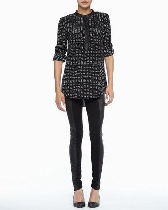 Rachel Zoe Dalton Leather-Trim Top