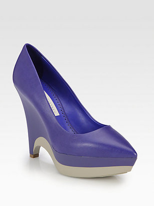 Stella McCartney Faux Leather Bicolor Platform Pumps