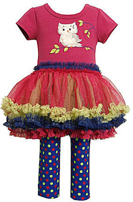 Bonnie Baby Infant Owl-Appliqued Tutu Dress & Leggings Set