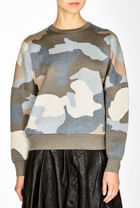 DKNY Camo Print Dolman Sleeve Crewneck Pullover