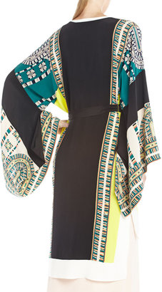 BCBGMAXAZRIA Runway Butterfly Long-Sleeve Silk V-Neck Jacket