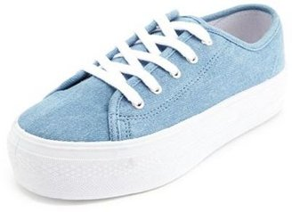 Charlotte Russe Chambray Lace-Up Platform Sneaker