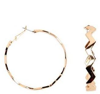 Charlotte Russe Zigzag Metallic Hoop Earrings