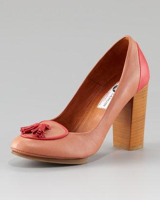 Lanvin Tassel Chunky-Heel Pump, Rose-Coral