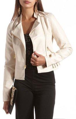 Charlotte Russe Pleated Peplum Pleather Jacket