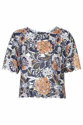 Topshop Tall exclusive kirada floral scallop top