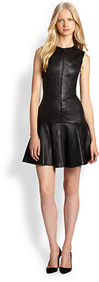 Robert Rodriguez Fit-&-Flare Stretch-Leather Dress