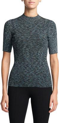 Theory Leenda Ribbed Short-Sleeve Sweater
