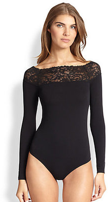 Wolford Flore Lace-Trimmed Bodysuit