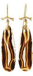 Annette Ferdinandsen Montana Agate Branch Earrings - 10 Karat Yellow Gold
