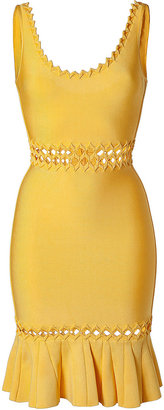 Herve Leger Radiant Sun Zigzag Trim Bandage Dress
