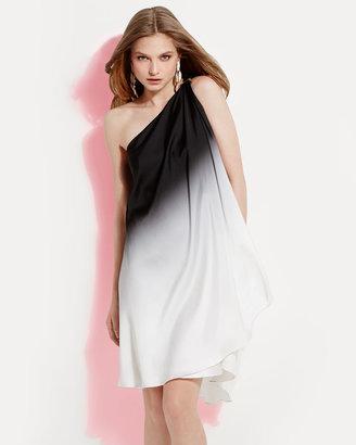 Halston Ombre Draped One-Shoulder Dress
