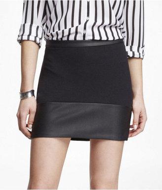 Express Ponte (Minus The) Leather Trim Knit Mini Skirt
