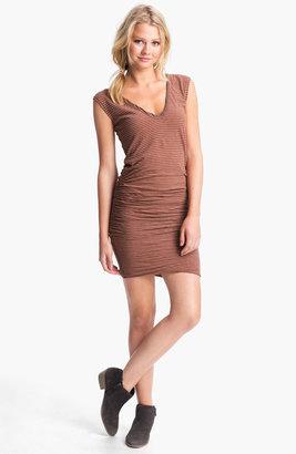 James Perse Stripe Ruched V-Neck Dress