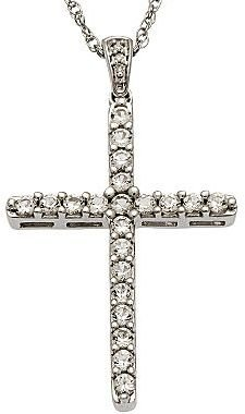 JCPenney White Topaz & Diamond Accent Cross Pendant