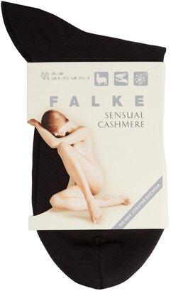 Falke Black Fine-knit Cotton-blend Socks
