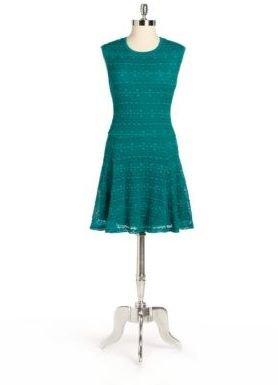 Eight Sixty Geometric Lace Drop-Waist Dress