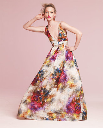 Alice + Olivia Chantal Floral-Print Sleeveless Gown
