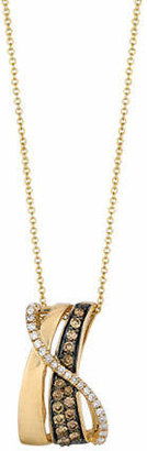 LeVian LE VIAN Chocolate and Vanilla Diamonds 14K Yellow and Honey Gold Gladiator Pendant