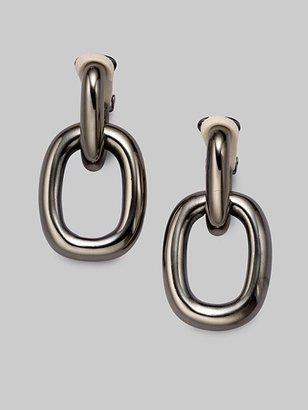 Kenneth Jay Lane Doorknocker Drop Earrings/Gunmetal